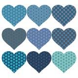 Bakgrund med nio blåa hjärtor i modeller fotografering för bildbyråer