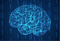 Bakgrund med nummer och hjärnan skissar Abstrakt blåttbakgrund Arkivbilder
