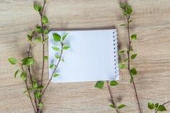 Bakgrund med nya vårkvistar och tom anteckningsbok för text Fotografering för Bildbyråer