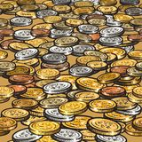 Bakgrund med olika mynt seamless kant Arkivfoton