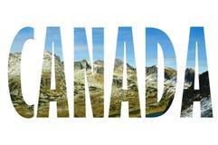 Bakgrund med ordet Kanada Bokstäver gjordes från bakgrunder Royaltyfri Foto