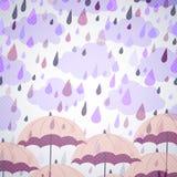 Bakgrund med paraplyer och ett regn Royaltyfria Bilder