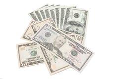 Bakgrund med pengar amerikanska dollar som isoleras på vit Arkivfoto