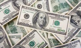 Bakgrund med pengaramerikan hundra dollarräkningar Fotografering för Bildbyråer