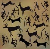 Bakgrund med petroglyphs Arkivbild
