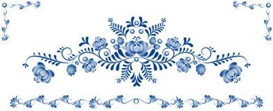 Bakgrund med prydnaden Gzhel Royaltyfri Fotografi