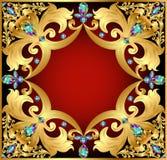 Bakgrund med röda ädelstenar och guldprydnader Royaltyfri Fotografi