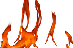 Bakgrund med röda flammor av brand isolerade vit Royaltyfri Bild