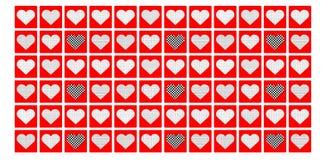 Bakgrund med röda hjärtor för modell Royaltyfria Foton