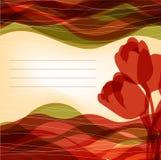 Bakgrund med röda tulpan med ett ställe för häftet Fotografering för Bildbyråer