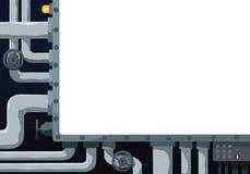 Bakgrund med rörledningen, ventiler och textfältet i mitten Royaltyfri Fotografi