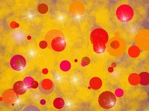 Bakgrund med rött och gult cirklar Arkivbilder