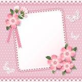 Bakgrund med ramen och blommor. Arkivfoto