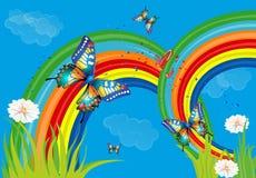 Bakgrund med regnbågen och fjärilar Royaltyfria Bilder