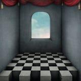 Bakgrund med schackbrädet och gardiner Arkivfoton