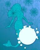 Bakgrund med sjöjungfru- och bubblabanret vektor illustrationer