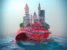 bakgrund med snäckskalet och den ecologic futuristiska staden Arkivbilder
