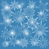 Bakgrund med snöflingor Stock Illustrationer
