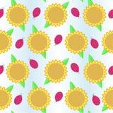 Bakgrund med solrosor och nyckelpigan Vektor Illustrationer