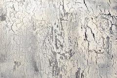 Bakgrund med sprucken vit målarfärg Textur av den gamla grova beläggningen En vägg med en ovanlig abstrakt modell Arkivfoton