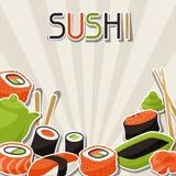 Bakgrund med sushi Royaltyfri Foto