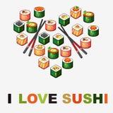 Bakgrund med sushi Royaltyfria Foton