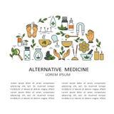 Bakgrund med symboler av alternativ medicin och text stock illustrationer