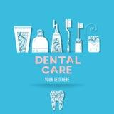 Bakgrund med tandvårdsymboler Royaltyfri Foto
