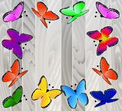 Bakgrund med trätextur och fjärilar stock illustrationer