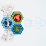 Bakgrund med tre moderna faktorer elektronik, mekaniker och internet stock illustrationer