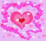 Bakgrund med tredubbel hjärta Arkivfoton