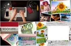 bakgrund mer mitt portföljlopp Olik saker som du behöver för resan - smartphone, pass, kamera, översikt, pengar Royaltyfri Fotografi
