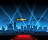 Bakgrund och stad för röd matta för Hollywood film royaltyfri illustrationer