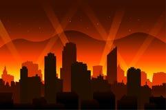 Bakgrund och stad för röd matta för Hollywood film stock illustrationer