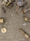 Bakgrund om lopp och affärsföretag med den antika sextanten, komp Royaltyfri Fotografi