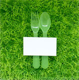 Bakgrund på organisk mat och den högra maten med gaffeln och Arkivbilder