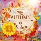 Bakgrund på ett tema av hösten försäljning 10 eps Fotografering för Bildbyråer