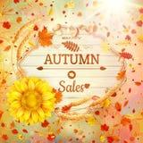 Bakgrund på ett tema av hösten försäljning 10 eps Arkivbild