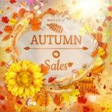 Bakgrund på ett tema av hösten försäljning 10 eps Royaltyfria Foton