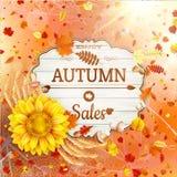 Bakgrund på ett tema av hösten försäljning 10 eps Royaltyfri Fotografi