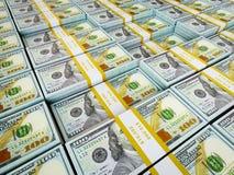 Bakgrund - rader av US dollarpackar Arkivfoton