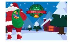 Bakgrund Santa Claus för glad jul med gåvor Arkivfoto