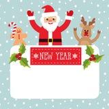 Bakgrund Santa Claus, hjort, pepparkakaman för vektor för ` s för nytt år med stället för text Royaltyfria Foton