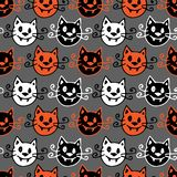 bakgrund seamless halloween Vektormodell med halloween vampyrkatter på grå bakgrund stock illustrationer
