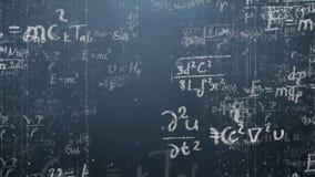 Bakgrund sköt av svart tavla med vetenskapliga och algebraiska formler och graphs skriftligt på den i diagram Affär Arkivfoto