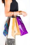 bakgrund som isoleras över shoppingwhitekvinna Arkivfoton