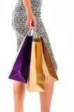 bakgrund som isoleras över shoppingwhitekvinna Royaltyfri Fotografi