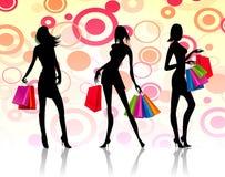 bakgrund som isoleras över shoppingwhitekvinnor Royaltyfri Fotografi