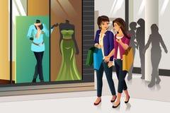 bakgrund som isoleras över shoppingwhitekvinnor stock illustrationer