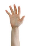 bakgrund som kallar isolerad white för hand hjälp Arkivbild